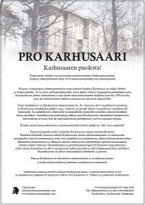 Pro Karhusaari_kuntalaisaloitteen juliste