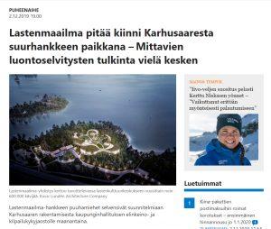 Kuva Länsiväylän Karhusaarta koskevasta artikkelista