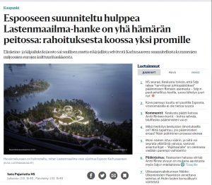Helsingin Sanomien artikkeli Espoon Karhusaaresta